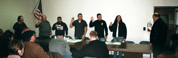 standing at right teamsters joint council 7 swears in local 533 officers standing left to right mike hall dana elwell
